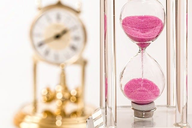 hourglass running out of time. make the most of limited time